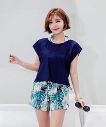 【8色】レディース 水着 Tシャツ タンキニ ショートパンツ インナーショーツ付(5点セット)(水着)