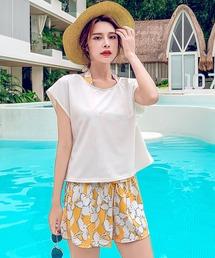【8色】レディース 水着 Tシャツ タンキニ ショートパンツ インナーショーツ付 体型カバー 水着 swimwear セットアップ(5点セット)(水着)