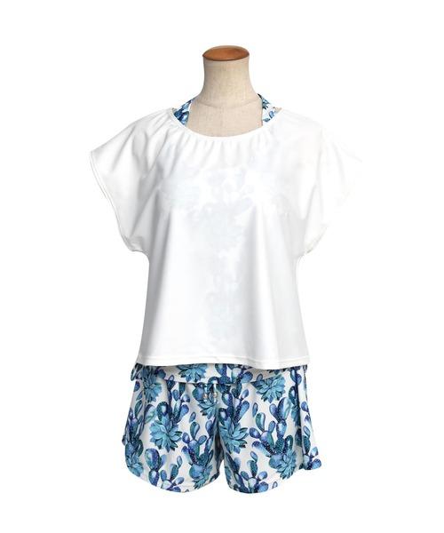 //新色追加【11色】水着 レディース Tシャツ タンキニ ショートパンツ インナーショーツ付 体型カバー 水着 swimwear セットアップ(5点セット)