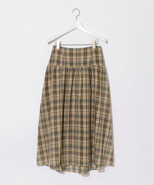 『BRACTMENT(ブラクトメント)』  シアーチェックヨークギャザースカート