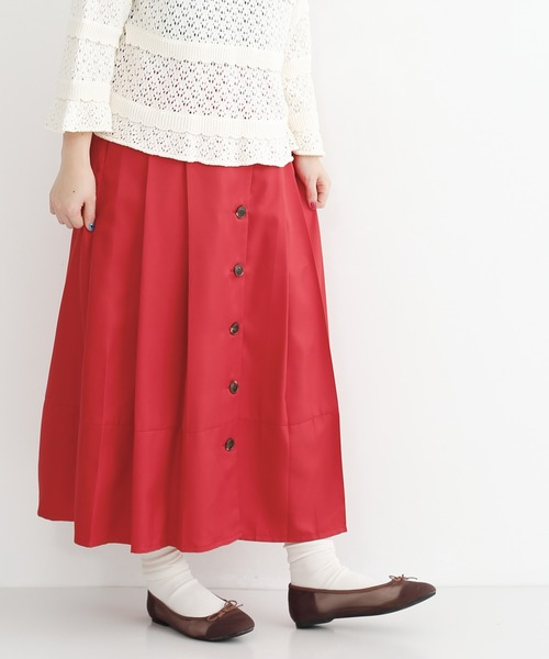 merlot(メルロー)の「フロントボタンタックプリーツスカート2598(スカート)」|レッド