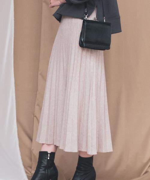 Aunt Marie's(アントマリーズ)の「AUNT MARIE'S ニットプリーツスカート(スカート)」|ナチュラル