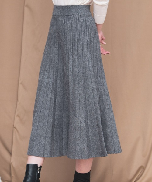 Aunt Marie's(アントマリーズ)の「AUNT MARIE'S ニットプリーツスカート(スカート)」 グレー