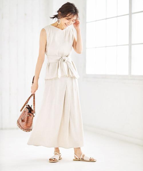&. NOSTALGIA(アンドドットノスタルジア)の「【Luxe line】リネン混タックデザインスカート(スカート)」|アイボリー