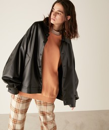 シンセティックレザー ビッグシルエット ルーズスリーブブルゾン EMMA CLOTHESブラック
