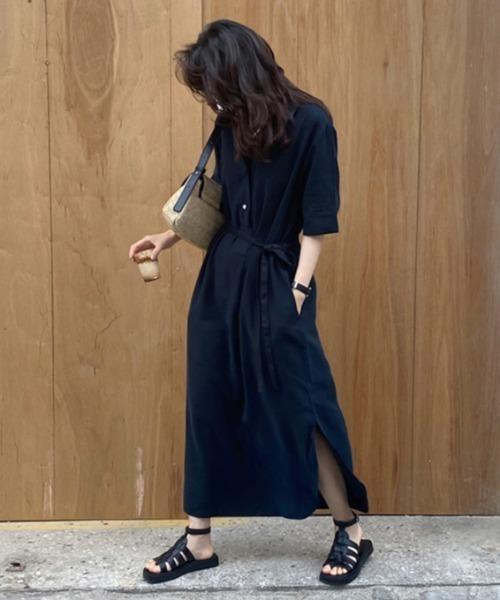 [rue.] 5分袖 ベルト付きオープンカラーシャツワンピース
