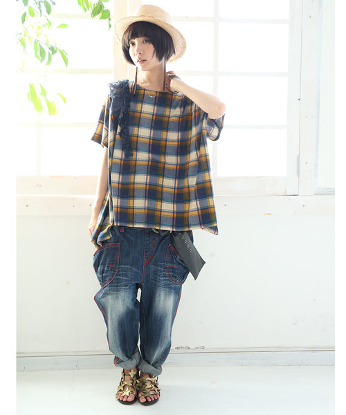 『somariチェック柄アシメフリルデザインTシャツ』