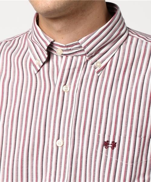 ツイルストライプボタンダウンシャツ