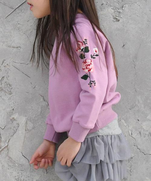 花刺繍ショルダートレーナー