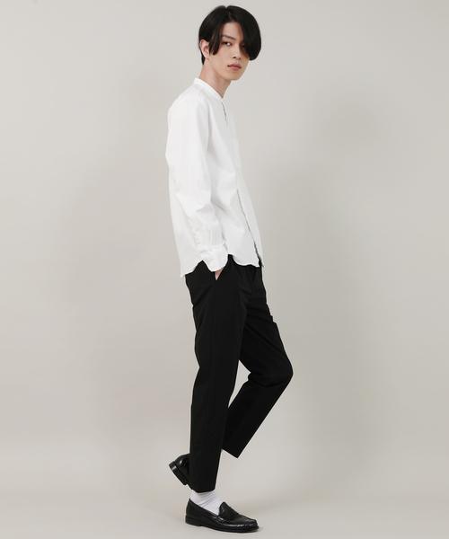 【Upscape Audience】国産/日本製バンドカラー長袖シャツ