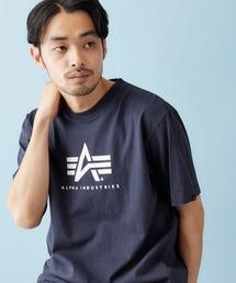 Alpha Industries/アルファインダストリーズ A-MARK PRINT T SHIRT 半袖ロゴTシャツネイビー
