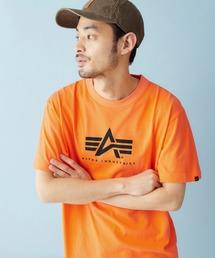 Alpha Industries/アルファインダストリーズ A-MARK PRINT T SHIRT 半袖ロゴTシャツオレンジ