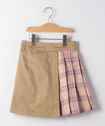 ツイル×チェック ラップスカート