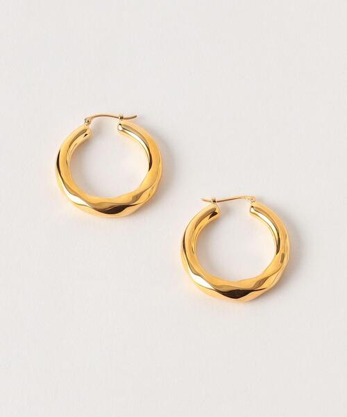 <Preek>YU-KIN TWIST HOOP EARRINGS LARGE GOLD PLATED/ピアス