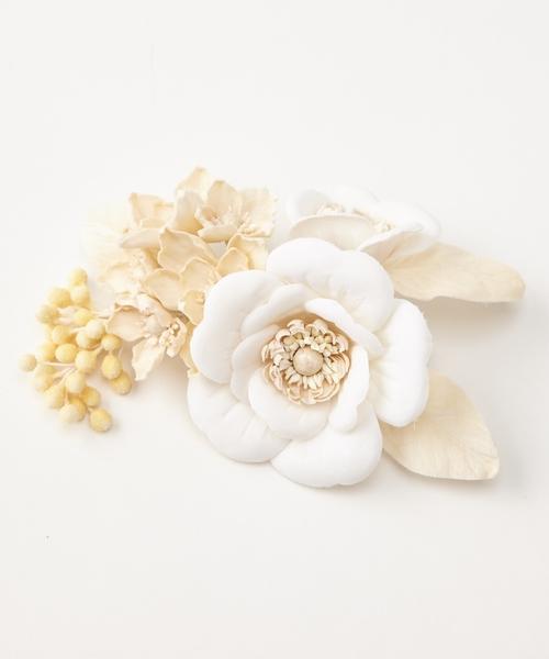 ヘアクリップ「椿と桜のコラージュ」