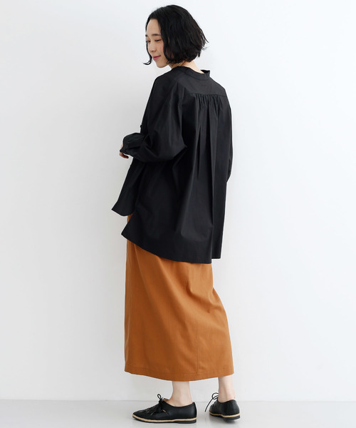 コットンバンドカラーワイドシャツ7913