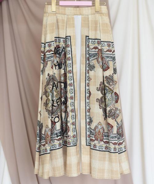 【Eimee Law】ペイズリーパネルプリントレイヤードタックフレアスカート