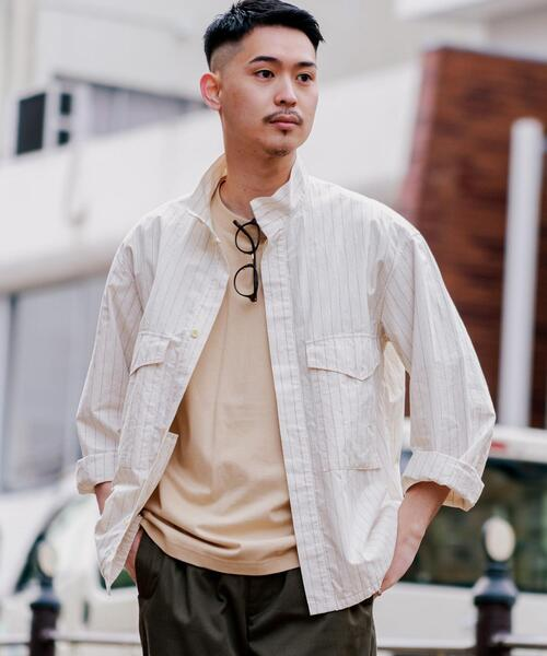 ☆【さまになるミリタリーブルゾン】タイプライター ストライプ BDU シャツ ジャケット