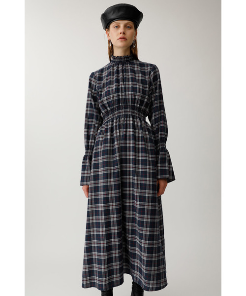 FLARE SLEEVE CHECK DRESS