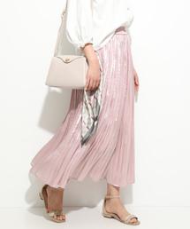 ViS(ビス)の【新色追加】シャイニーサテンフェードアウトプリーツスカート(スカート)