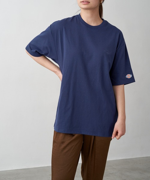 Dickies/ディッキーズ 別注 ロゴ刺繍 オーバーサイズ コットン S/S 半袖 Tシャツ