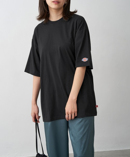 Dickies/ディッキーズ 別注 ロゴ刺繍 オーバーサイズ コットン S/S 半袖 Tシャツ/ロゴTee/カットソー/ワークテイスト