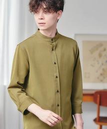 T/R ストレッチ バンドカラーシャツ(3/4 sleeve)オリーブ