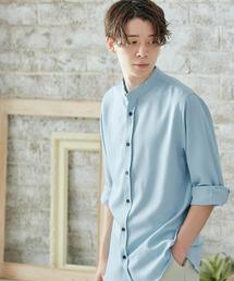 T/R ストレッチ バンドカラーシャツ(3/4 sleeve)サックスブルー