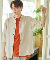 T/R ストレッチ バンドカラーシャツ(3/4 sleeve)ライトベージュ
