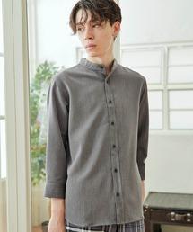 T/R ストレッチ バンドカラーシャツ(3/4 sleeve)チャコール