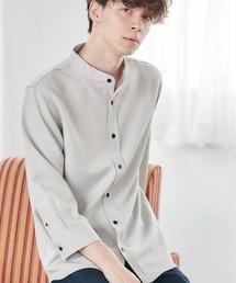 T/R ストレッチ バンドカラーシャツ(3/4 sleeve)ライトグレー