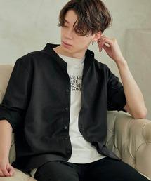 T/R ストレッチ バンドカラーシャツ(3/4 sleeve)ブラック