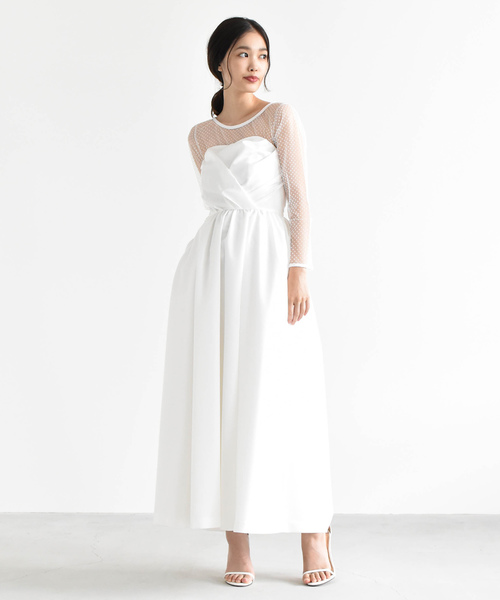 5721a5943f22c ドットインナー付きマキシドレス(ドレス) kaene(カエン)の ...