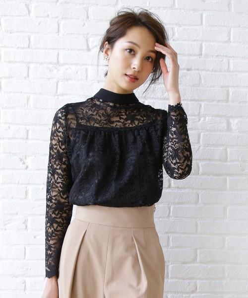 aquagirl(アクアガール)の「キャミソール付き総レースシャツ(シャツ/ブラウス)」 ブラック