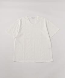 <A DAY IN THE LIFE>ジャカード ジグザグ VネックTシャツ