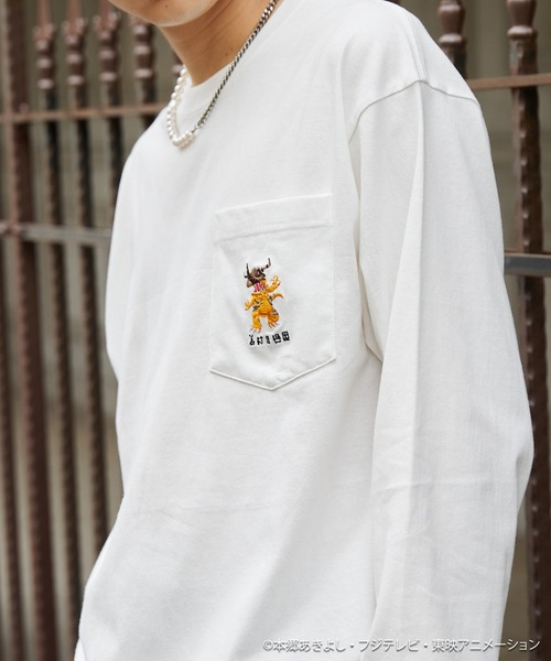 デジモンアドベンチャー: 別注 キャラ刺繍 ポケット付きオーバーサイズL/Sカットソー
