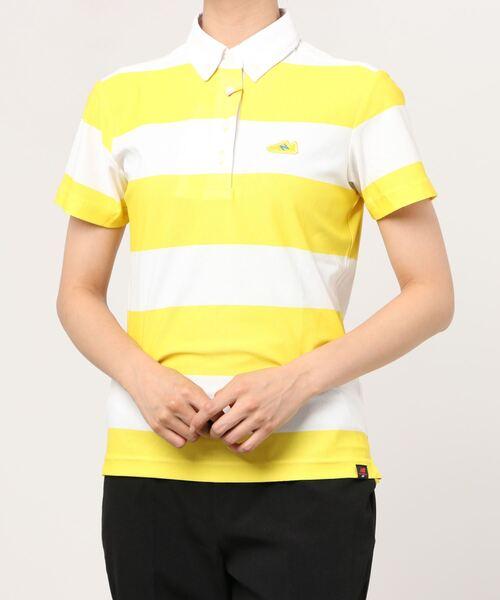 New Balance Golf(ニューバランスゴルフ)の「【new balance golf】ワイドボーダー 半袖カラーシャツ (METRO WOMENS)(ゴルフグッズ)」|イエロー系その他