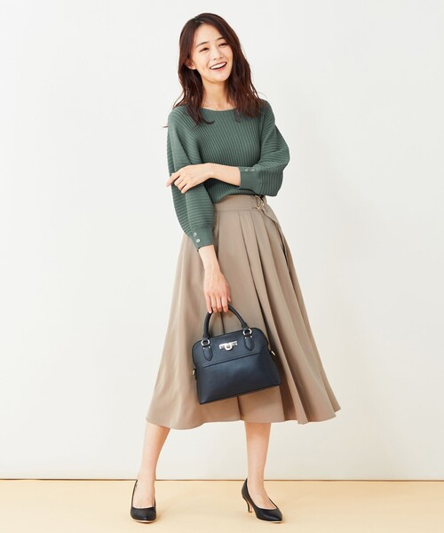 [L size ONWARD(大きいサイズ)] 【洗える】バックルポイントタフタ スカート