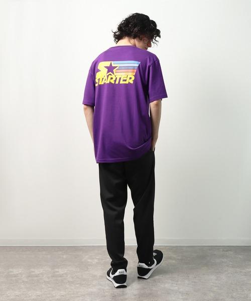 【 STARTER / スターター 】 レトロレインボー柄Tシャツ 半袖 X58706J BNU
