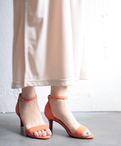 SESTO(セスト)の「美脚ピンヒールアンクルストラップサンダル(サンダル)」|オレンジ