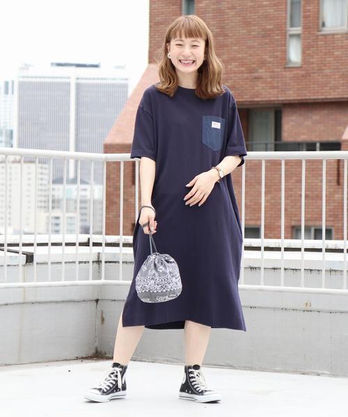【【『リンネル』8月号掲載・WEB限定カラー⇒ネイビー】SMITH別注Tシャツワンピース