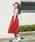 A.I.C(エーアイシー)の「カットレース fab.×スカラップ デザイン・スカート(スカート)」|レッド
