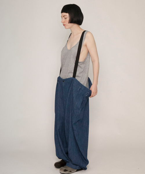 【my beautiful landlet】 suspenders big denim pants