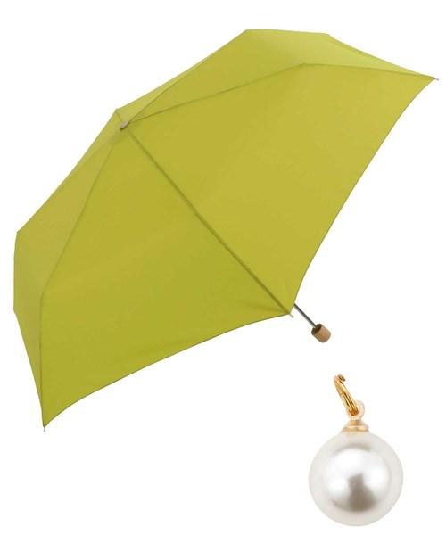 Wpc.(ダブルピーシー)の「【Wpc.】オンライン限定無地アンブレラ(晴雨兼用) パールチャームmini(折りたたみ傘)」|グリーン