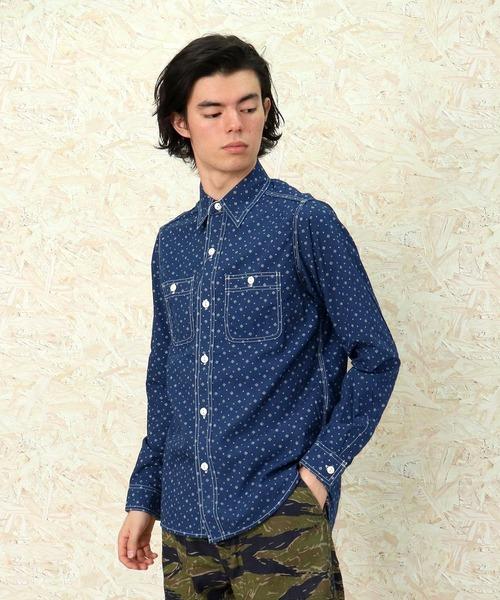 【HOUSTON】ワークシャツ ダイヤ柄 4983