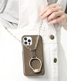 【 Hashibami / ハシバミ 】別注 iphone12/12pro 天然石×チェーン スマホ・携帯カバー リング付きケースブラウン