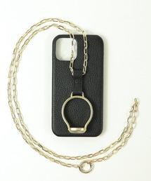 【 Hashibami / ハシバミ 】別注 iphone12/12pro 天然石×チェーン スマホ・携帯カバー リング付きケースブラック