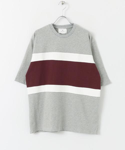 パネル切替五分袖Tシャツ