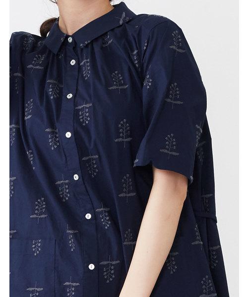 スターフラワー刺繍シャツワンピース