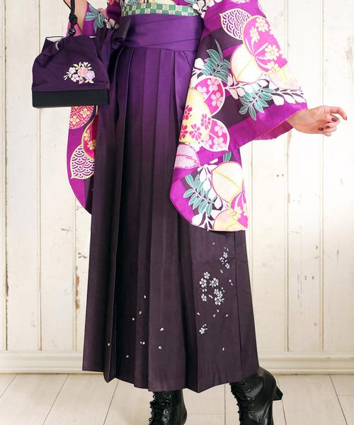 袴 ぼかし 刺繍 薔薇 ブーケ 桜花冠